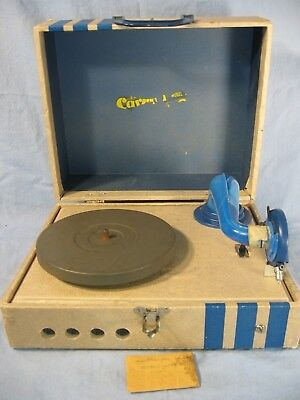 Vintage Carnival Child's Toy Record Player Works