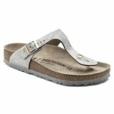 34b9d5bc7017 Birkenstock Leather GIZEH Washed Metallic Blue Silver BNIB 1008699 size 38