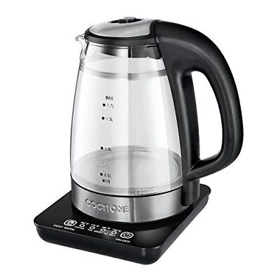 Electric Kettle COCTIONE Glass Digital Kettles Double Wall Cool Touch (1.7L)