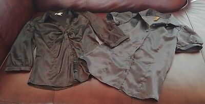 Lot Of 2 Women's Button Polyester Blouses Shirt Tops Size S/m