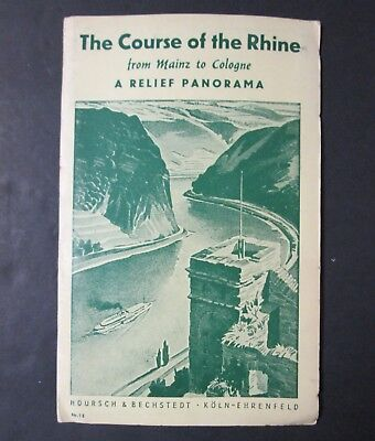 The Course of the RHINE Beautifully Illustrated Fold Out Mid Century Travel