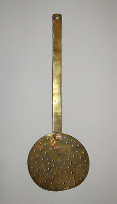 """Old Antique Vtg 19th C 1800s Brass Open Hearth Skimmer Large 18"""" Long Very Nice"""