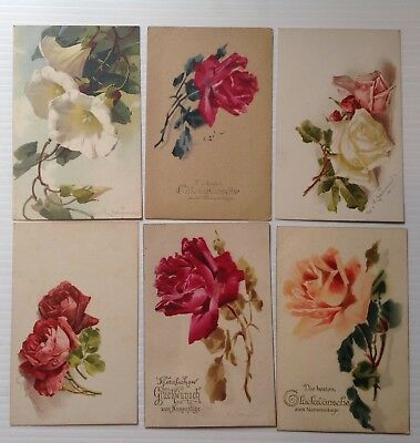 6 Antique Postcards -Roses