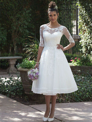 White Ivory Tulle Lace Wedding Dress 34 Sleeve Knee Length