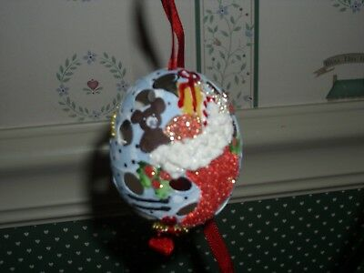 Peter Priess Austrian Christmas Egg Shell Ornament-Blue Cut Out Egg/stocking