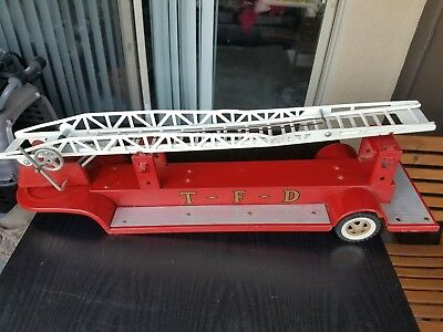 Tonka Ariel Ladder TRAILER ONLY, TFD Fire Truck 1960's rare Pressed Steel Red
