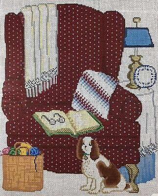 Grandmas Chair Handpainted Needlepoint Canvas Book Dog Yarn Glasses