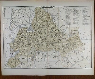 1896 BROOKLYN NEW YORK Map Old Antique Historical  CONEY ISLAND FLATBUSH MAPZ