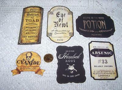 Halloween~Vintage~Potion~Bottle~Label~Linen Cardstock~Sticker~Set of 6