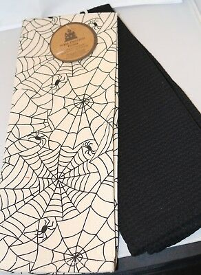 Well Dressed Home HALLOWEEN SPIDERWEB 2 Kitchen Towels NEW Spider Web Black