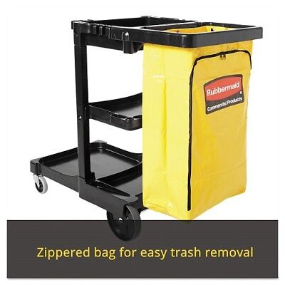 Rubbermaid Commercial Housekeeping Janitor Utility Cart 3-Shelf Yellow Bag