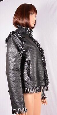 Lanvin River 2014 Leather / Tweed Fringed Edges Zip Jacket Size L Pre-owned
