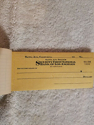 Vintage First Security Bank Of Los Angeles Checkbooks