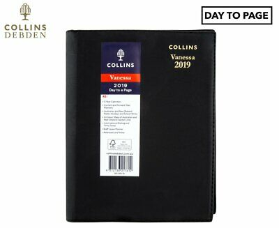 2019 Collins Debden A5 Vanessa Day To Page Diary DTP Black Hardcover 185.V99-19