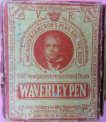 Vintage Advertise Cardboard Box Waverly Pen Makers To Her Majesty's & Pen Nib
