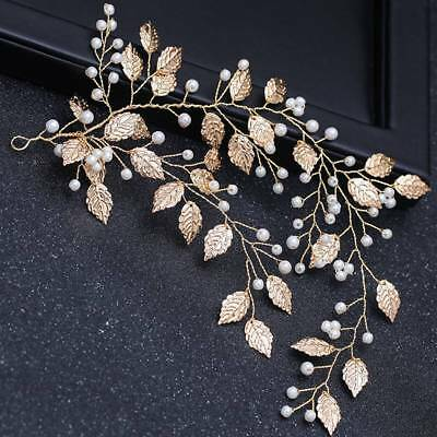 Gold Bridal Wedding Leaf Branch Pearl Hair Clip Hairpin Headpiece Jewelry Gifts