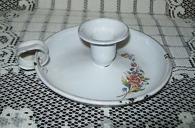 VINTAGE 'SHABBY' WHITE ENAMELED METAL CANDLE HOLDER floral design
