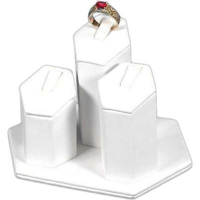 3 Ring Stand White Leather Jewelry Showcase Display