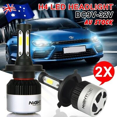 Nighteye H4 72W 9000LM HB2 LED Headlight Kit Hi/Lo 6500K Beam Globe Bulbs White