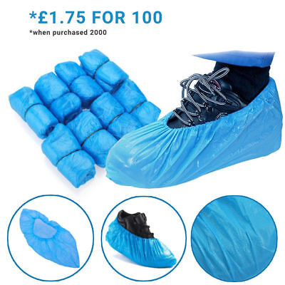 Disposable Shoe Cover Blue Anti Slip Plastic Cleaning Overshoes Boot Safety