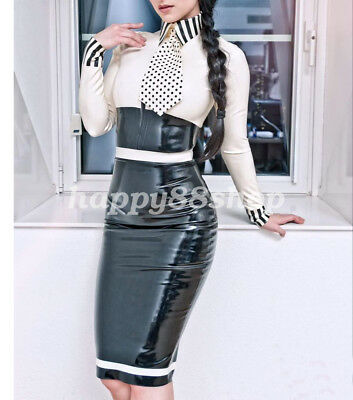 Black and White Dress Latex Rubber Sexy Elegant Gummi Long Skirt 0.4mm  S-XXL
