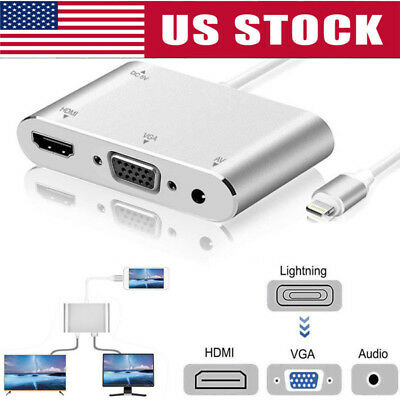 1080p Lightning To HDMI/VGA Audio Converter Adapter For Apple iPhone/iPad/iPod