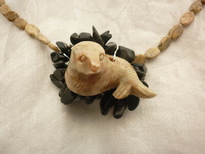 Larp Viking Necklace Soapstone Seal, Obsidian, Picture Jasper Handcrafted Swsw