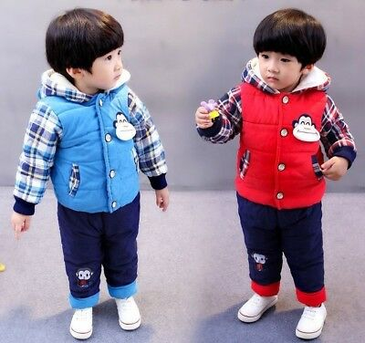 Clothing Toddler Plaid Cartoon Cotton-padded Thicken Warm Clothes Winter Infant