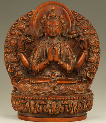 Unique Chinese Big Old Boxwood Hand-Carved Buddha Kwan-yin Statue Collectable