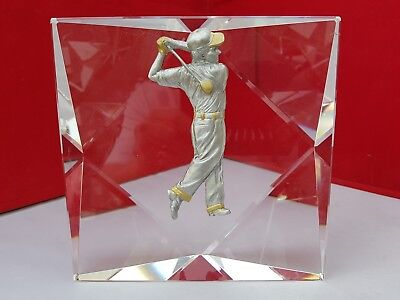 """Golf Trophy Solid Crystal & Pewter 14Cm High 2"""" Thick Free Engraving"""
