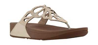 39692cf743fb7 FitFlop Women s Bumble Wedge Thong Sandal Gold Leather Microfiber Micro- Crystal