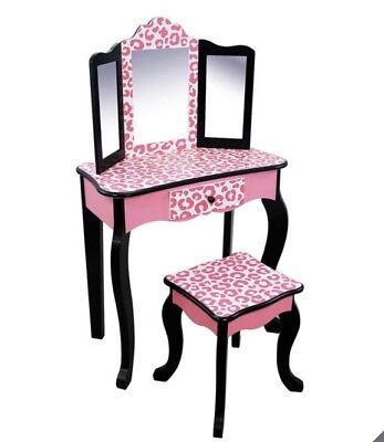Girls Wooden Vanity Table & Stool Make Up Table Pink Leopard Role Play Pretend