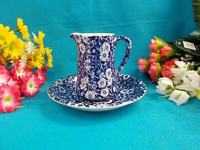 Lovely Blue And White Jug And Saucer - Burleighware England - Ironstone Ex Cond