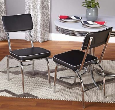End Dining Chairs Set Of 2 Retro Diner Kitchen Vintage Seat Upholstered Chrome
