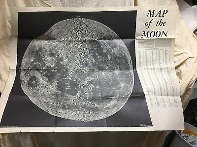 """Vintage 1959 Large Map of the Moon Stratfford Industries 34""""x45""""lick Observ"""