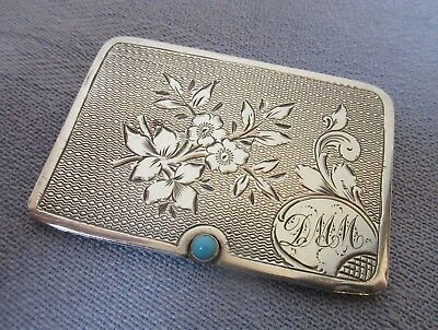 Rare Antique Sterling Silver Engraved Stamp Case Atkinson Bros.1905