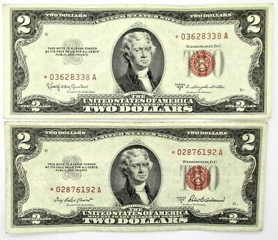 1953 - $2 Dollar Red Star Note Lot of 2 Uncirculated Condition