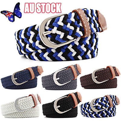 Men's Stretch Braided Elastic Woven Canvas Buckle Belt Waistband Waist Straps AU