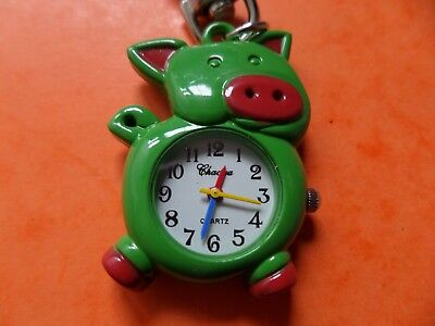 Green Pig Keyring Watch   NEW Battery Fitted Before Posting   FREE P&P
