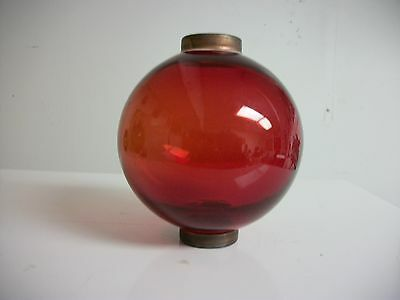 4.5''  RED GLASS BALL for weathervane OR LIGHTENING RODS, fits over a 3/4'' rod