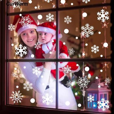 2PCS/SET Winter Wall Window Stickers Christmas Silver Snow Flake Decoration Home