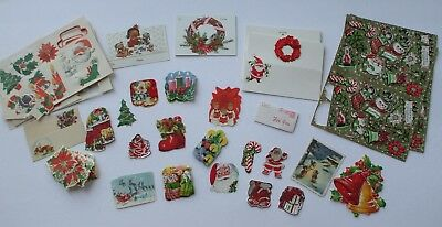 Lot of Vintage Christmas Tags Seals Stickers Tags Snowman Choir Boy Candles Tree