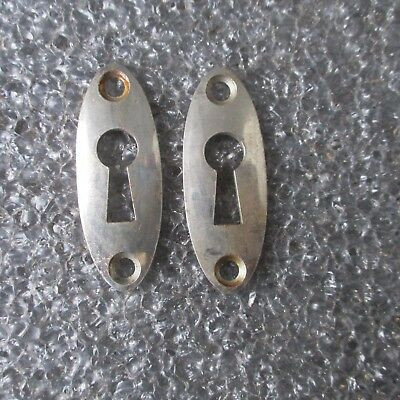 PAIR Antique Chrome Nickel Escutcheons Skeleton Key Door Key hole Covers Oval