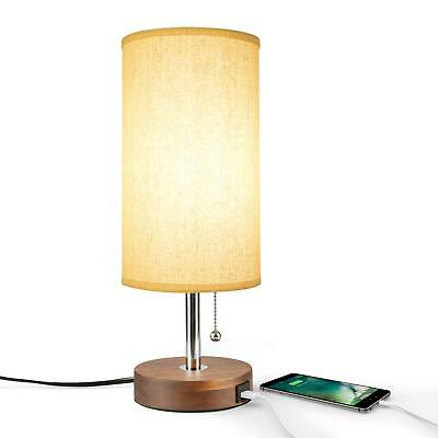 Table Lamp USB, Bedside Desk Lamp, Minimalist Modern Solid Wood Nightstand Lamp