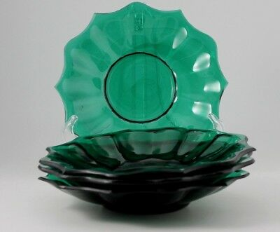 4 ANTIQUE GREEN PLATES ground edges and wavy glass