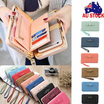 AU Women Bowknot Wallet Long Purse Card Phone Holder Clutch Large Pocket