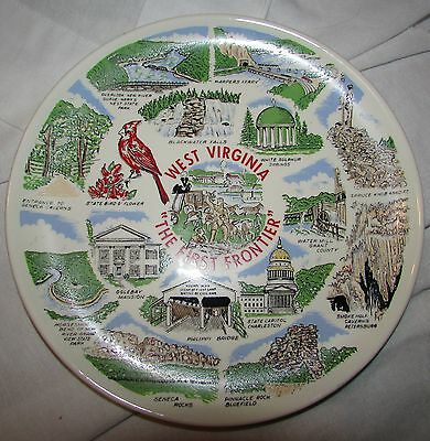 Vintage West Virginia The First Frontier Collectible Souvenir Plate Charleston