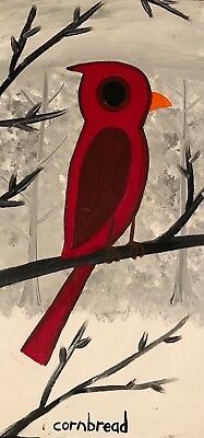 Cornbread Anderson Original Cardinal In The Snow Folk Outsider Art Painting