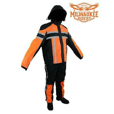Black/Orange Textile Two-Piece Rain Suit By Milwaukee Riders®
