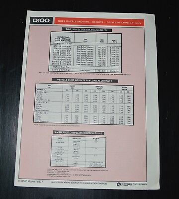 Dodge D-100 Pickup 8 Page Specifications Brochure Super Rare  1977